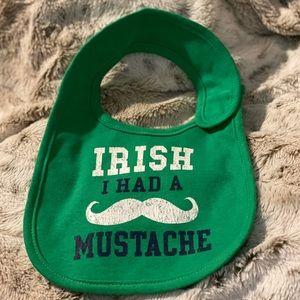 Carter's Irish I Had a Mustache Green Bib One Size
